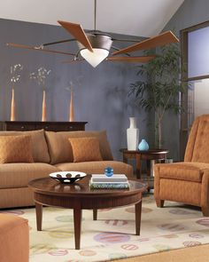 A whiff of good taste and modern style is what this modern fan provides to any living room