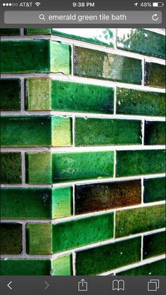 Love green tile Handmade tiles can be colour coordinated and customized shape, texture, pattern, etc. by ceramic design studios Go Green, Green Colors, Green Girl, Theme Color, Terra Verde, Glazed Brick, Glazed Tiles, Aesthetic Colors, Aesthetic Green
