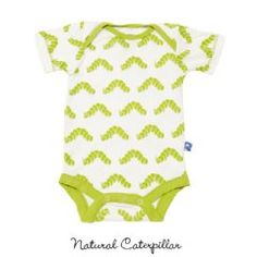 Print Onesie in Natural Caterpillar, 95% bamboo onesie by Kicky Pants, $22