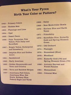 Pyrex patterns by year. We might have to do some swapping of patterns.  :)