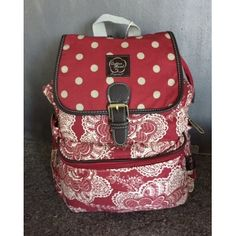Cotton Road Red Paisley and Polka Vintage Backpack