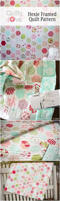 Hexie Framed Quilt by Emily of Quilty Love using Hello Darling Fabric by Bonnie and Camille for Moda Fabrics. Modern Hexagon quilt pattern that goes together without Y seams.