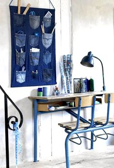 Denim Bulletin Board: use blue jean pockets to create this bulletin board.