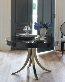 Bernhardt Haven 48 Round Dining Table With Vintage Nickel Metal