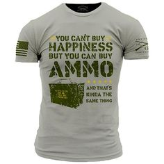 Ammo Is Happiness T-Shirt - Grunt Style Military Men's Grey Tee Shirt - Star Spangled 1776