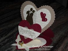 Carolyn's Card Creations: A Hearts Double Easel Wedding Card using Marry Me, En Francais and Well Scripted stamps with SU Heart Framelits