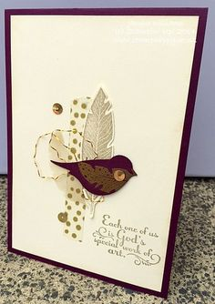 Stampin' Up! ... handmade card ... neutrals and gold bling for collage montage on a one-layer card ... bird punch and stamped feathers ...