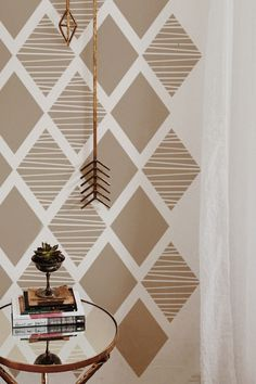 Geometric patterns are trendy today! ETHAN- Geometric Wall Stencil can be used as fragments on a wall, on the floor, or Creative Wall Painting, Wall Painting Decor, Stencil Painting On Walls, Wall Painting Stencils, Painting Patterns On Walls, Painted Wall Art, Wall Painting Living Room, Paint Decor, Bird Stencil