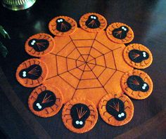 Hand Stitched Primitive Halloween Wool-Felt SPIDER Penny Rug - Candle Mat....OFG team on Etsy, $25.00