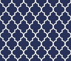Classic Decor Fabric - Classic Navy And White Quatrefoil By Willowlanetextiles - Navy Cotton Fabric By The Yard With Spoonflower Navy Wallpaper, Bathroom Wallpaper, Custom Wallpaper, Pattern Wallpaper, Blue And White Wallpaper, Navy Blue Walls, Quatrefoil, Fabric Decor, Fabric Patterns