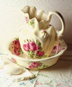 Victorian wash stand & pink roses pitcher with bowl