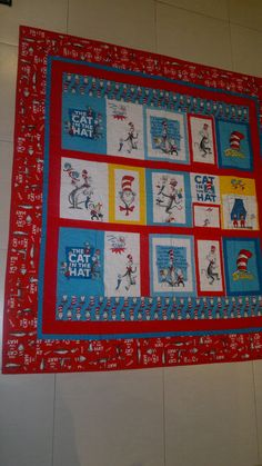 """""""Cat in the Hat"""". Quilt made for my grand daughter, Matilda Grace. Made with love. Feb 2014"""