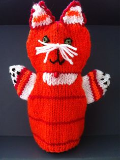 Rode kater rode kat handpop kat Handdoll Karel van HandDoll op Etsy, $15.00