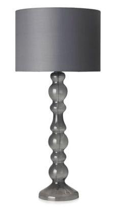TALL-Modern-Grey-Ball-Shaped-Glass-Column-Consol-Table-Lamp-Drum-Shade-NEW-BNWT