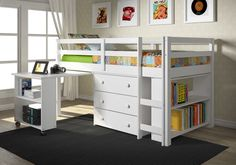 Twin Low Loft in White with Roll-out Desk and built-in Bookcase