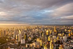 Sunset in the morning. A view of the capital city of Thailand, Bangkok