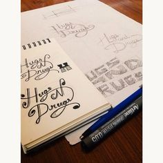 """Hugs and Drugs"" #lettering #sketch #alejandroolarteletteringstuff #aolartelettring"