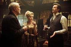 Michael Caine, Scarlett Johansson, and Hugh Jackman in _The Prestige_ (2006) | In the Frame Film Reviews: 100 Movies - No. 71: The Prestige