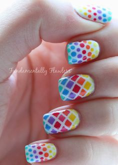 Fundamentally Flawless: Rainbow Diamonds and Dots Nail Art with Models Own HyperGels