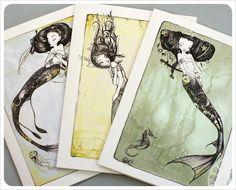 3 Mermaid Cards - Fairy Tale - Fantasy Note Cards - Art Cards - blank cards - Fairy Tale Art by the Filigree. $9.00, via Etsy.