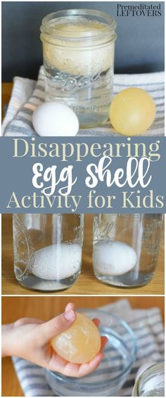 "Disappearing Egg Activity for Kids- This egg experiment is a great letter ""E"" activity for preschoolers and fun science activity for older kids!"