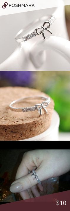 Elegant & Sparkly Bow Ring Silver Plated Super cute! Silver plated. Diameter 17mm. Fits ring sizes 6.5, 7 & 7.5.  Brand new. Good quality. No trade. Browse my closet to see more rings. Follow me to see daily new listings. Jewelry Rings