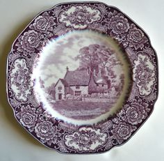Crown Ducal Colonial Times PURPLE / Lavender TRANSFER WARE PLATE George Washington's Ancestral Home Banbury, Sulgrave Manor Circa 1932 For consideration is this highly collectible, historical Stafford Antique Dishes, Vintage Dishes, Antique China, Vintage China, All Things Purple, China Patterns, Vintage Pottery, Vintage Colors, Tea Pots