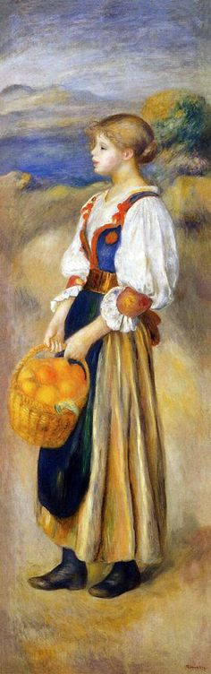 Girl with a Basket of Oranges by Pierre-Auguste Renoir  http://www.renoirgallery.com/painting.asp?id=50