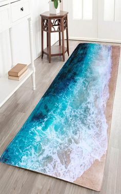 48x16 $14! Sea Beach Print Flannel Skid Resistance Water Absorb Carpet