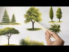 Painting Trees With A Fan Brush – Step By Step Acrylic Painting - Painting Techniques Acrylic Painting Trees, Acrylic Painting Techniques, Painting Videos, Easy Paintings, Acrylic Art, Painting Tips, Watercolor Paintings, Painting Clouds, Watercolor Tips