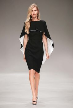The complete Escada Resort 2017 fashion show now on Vogue Runway.Escada Resort 2017 Fashion Show - Love this black and white cape dress!Moda y tendencia Supernatural StyleKeeper of the lost cities Cover capeSee all the Collection photos from Escada S Fashion 2017, Runway Fashion, High Fashion, Fashion Show, Fashion Dresses, Womens Fashion, Fashion Design, Space Fashion, Street Fashion