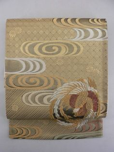 Gold, Floating Clouds and Phoenix Pattern Rokkaku Fukuro Obi / 金地 ヱ霞鳳凰丸文柄 六通袋帯