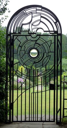 An iron clad door at the Fellows Garden, Clare College, Cambridge
