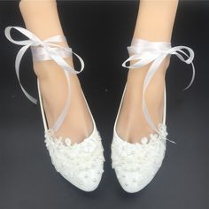 38.00$  Watch here - http://viyse.justgood.pw/vig/item.php?t=3ixv7s12272 - Women Pointed Bridal Ballet Flats/Wedding Flats/Ballerinas Shoes with Ribbons 38.00$
