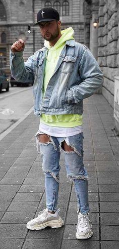Denim Jacket Fashion, Denim Jacket Men, Blue Denim, Men's Denim, Denim Style, Casual Outfits, Men Casual, Mens Fashion Blog, Urban Street Style