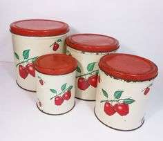 Vintage Kitchen Canisters Red Apple Decoware Mid Century Retro Home Decor Metal Cans PeachyChicBoutique on Etsy