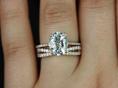 Blake Lima 14kt Rose Gold Oval FB Moissanite and Diamonds Cathedral Wedding Set (Other metals and stone options available)