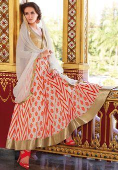 Off White and Orange Cotton Abaya Style Churidar Kameez Online Shopping: KWY752
