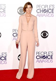 Ellen Pompeo Nice in nude! The Grey's Anatomy star looked slim and trim in a sexy Elie Saab jumpsuit