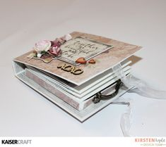 Kaisercraft 'PS. I Love You' collection Card Fold Box Mini Album a) + Video Tutorial by Kirsten Hyde (myhydeaway 4) Design Team member. saved from kaisercraft.com.au - Wendy Schultz - Mini Albums.