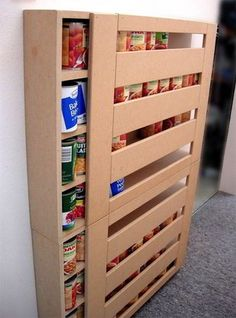 DIY RV Food Storage Can Dispenser: Keep the RV Pantry Organized. RV Food storage can be a hassle. Especially when dealling with canned goods. Why not build your own dispenser to keep it all organized. Make it any size. Camping Storage, Rv Storage, Storage Hacks, Storage Ideas, Storage Shelves, Kitchen Storage, Storage Solutions, Storage Cabinets, Rv Cabinets