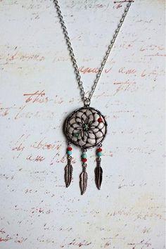 Jade Flower Dream Catcher Necklace'