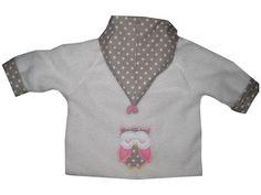 Wende Fleecejacke Jersey Eulen Gr. 68/74 von me Kinderkleidung und ersatzbezuege auf DaWanda.com