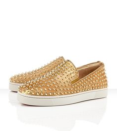 ROLLER BOAT MEN'S FLAt: Gold-  Crafted with gold pony lame and covered in gold spikes.  Designed by CHRISTIAN LOUBOUTIN.