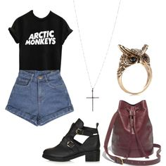 'Knee Socks' by laura-filmer on Polyvore featuring Topshop, Madewell, Accessorize, Lori's Shoes, vintage, indie, topshop, cutoutboots and arcticmonkeys