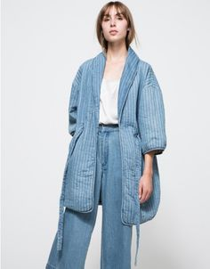 I want this coat so bad that I can taste cotton in the back of my throat.  The rest of the styling isn't me - I'd rather go without than do denim on denim with a freaky high waist.