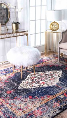 Handmade multicolour rug in rectangle or circle