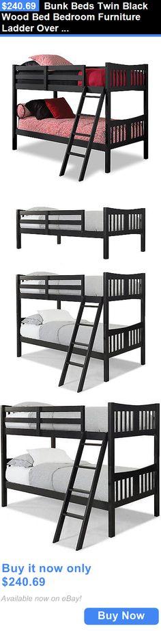 Kids Furniture: Bunk Beds Twin Black Wood Bed Bedroom Furniture Ladder Over Kids Boys Girls Dorm BUY IT NOW ONLY: $240.69