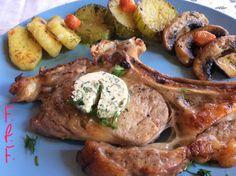 Μοσχαρίσιες μπριζόλες με αρωματισμένο βούτυρο και λαχανικά σοτέ Pork, Meat, Kale Stir Fry, Pork Chops