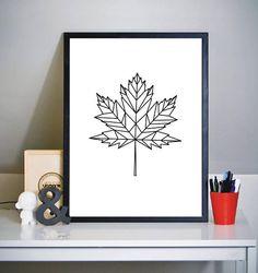 Geometry Maple Leaf Print  Wall Art Print Geometry Art